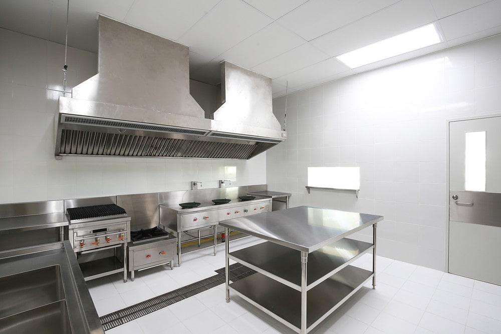 Muebles de cocina de acero inoxidable, campana y mesa de inoxidable