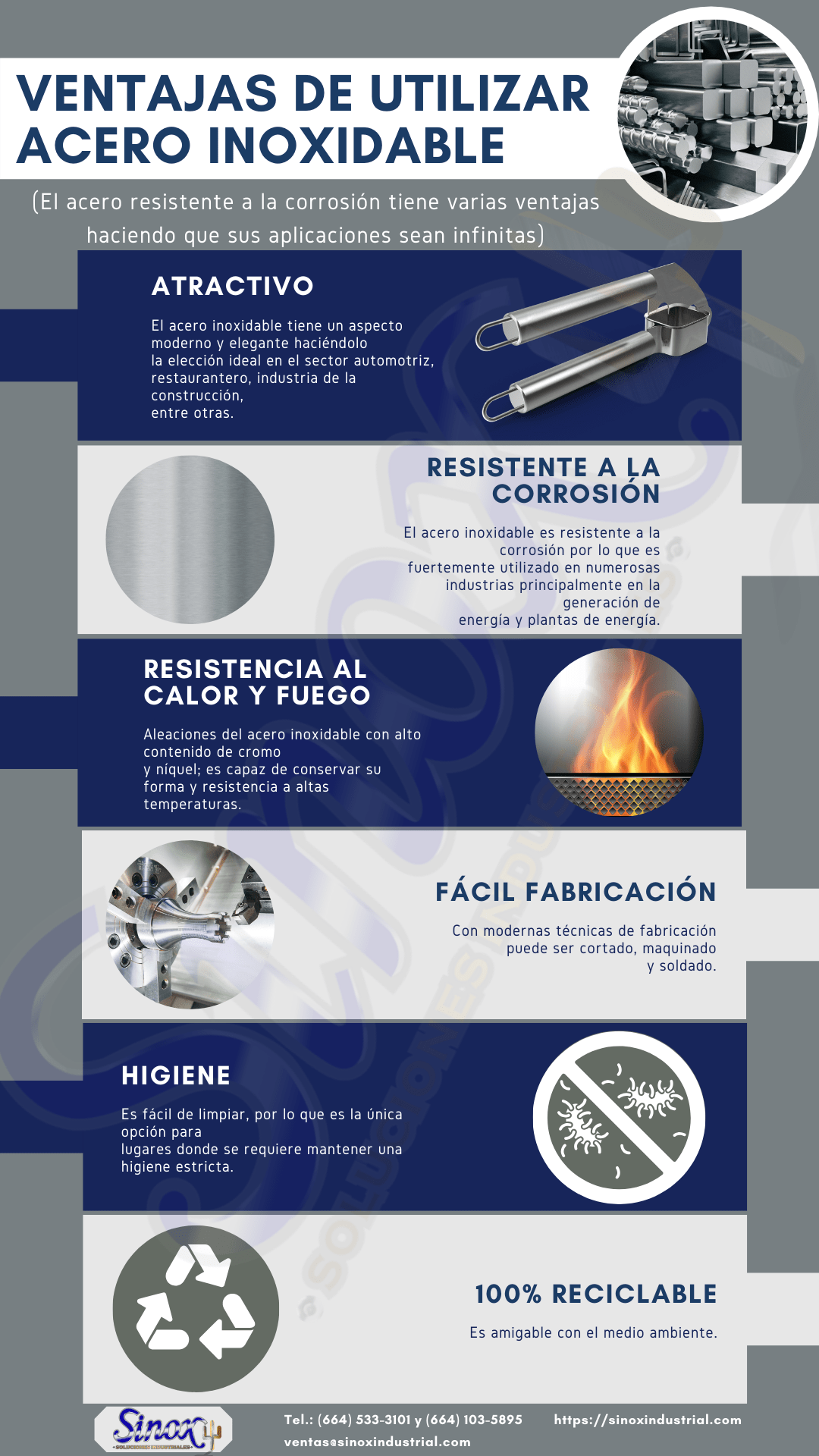 Infografia Ventajas Acero Inoxidable
