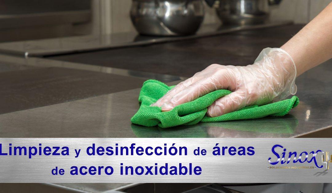 Limpieza y desinfección de áreas de acero inoxidable para prevenir el COVID-19